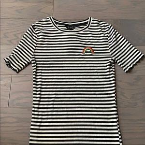 NWT TopShop Striped Short Sleeve Ribbed Mini Dress